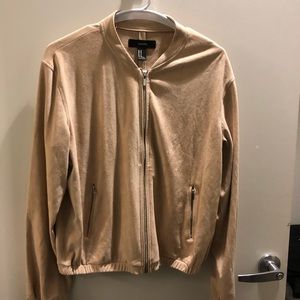 NWT-Cream Faux Suede Bomber Jacket-M
